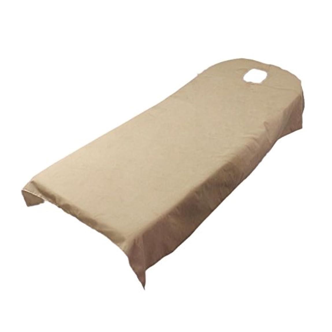 柔らかい ベッドカバー シート ホール付き 美容/マッサージ/スパ専用 全9色可選 - キャメル