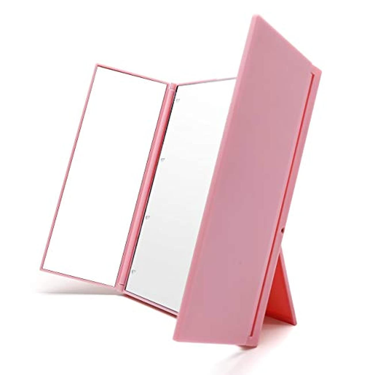 軌道ずらすピニオンVidgoo 鏡 卓上 スタンドミラー LED 化粧鏡 三面鏡 女優ミラー 折り畳み式 電池型 携帯便利(ピンク)