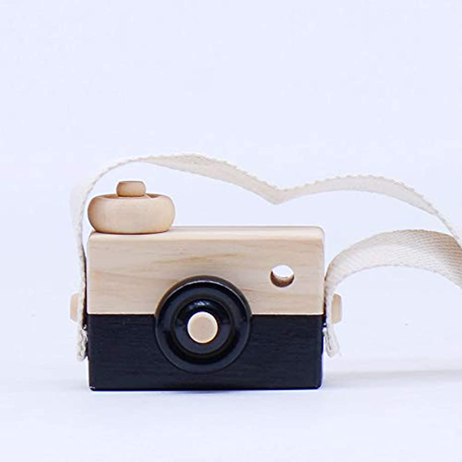 実験属する限定ミニかわいい木製カメラのおもちゃ安全なナチュラル玩具ベビーキッズファッション服アクセサリー玩具誕生日クリスマスホリデーギフト (黒)