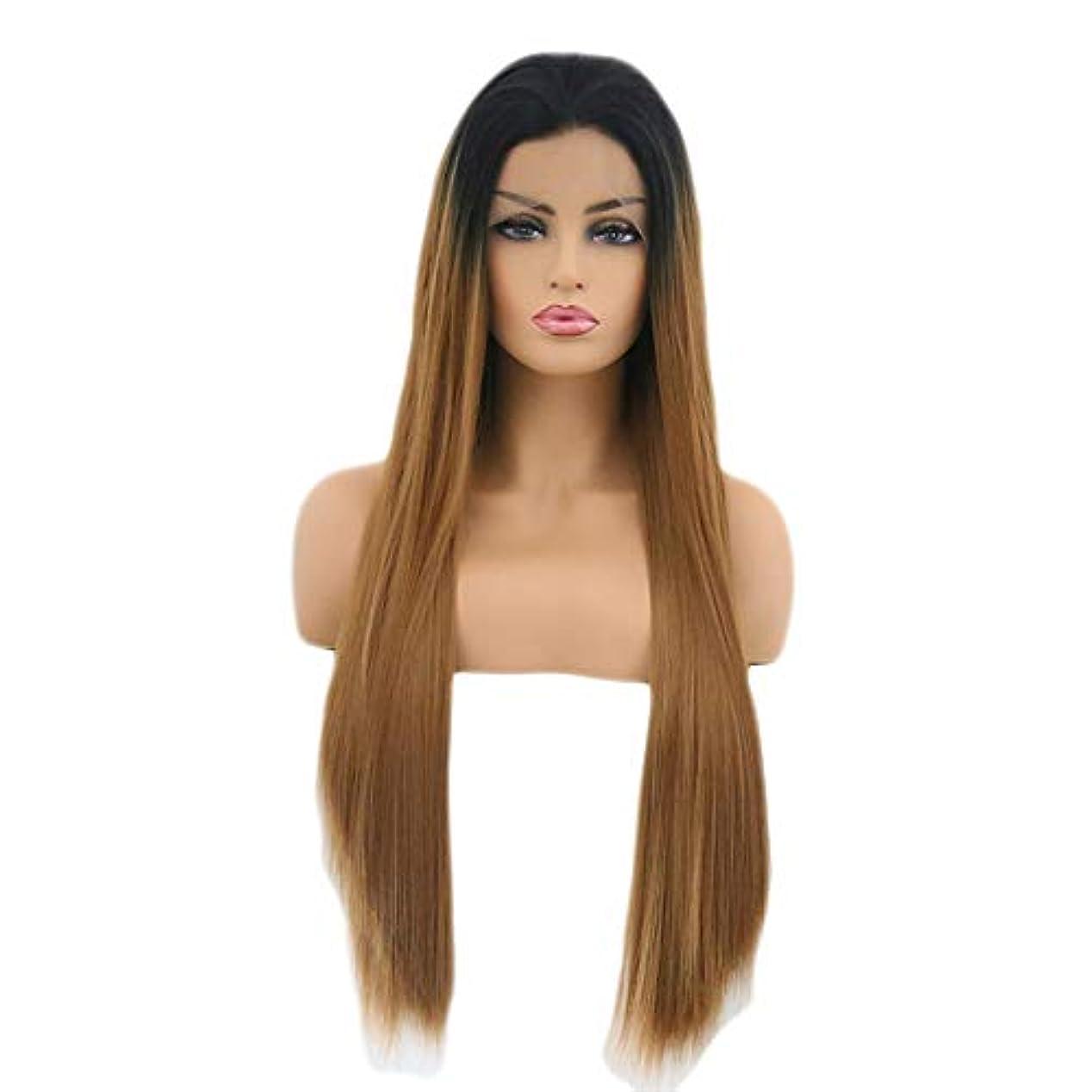 デクリメントキャリッジ震えるファッショナブルな女性のかつら、長いストレートの髪のかつら、任意の頭の形のための高温ワイヤー調節可能なかつら16-26インチの自然なフロントレースのグラデーション