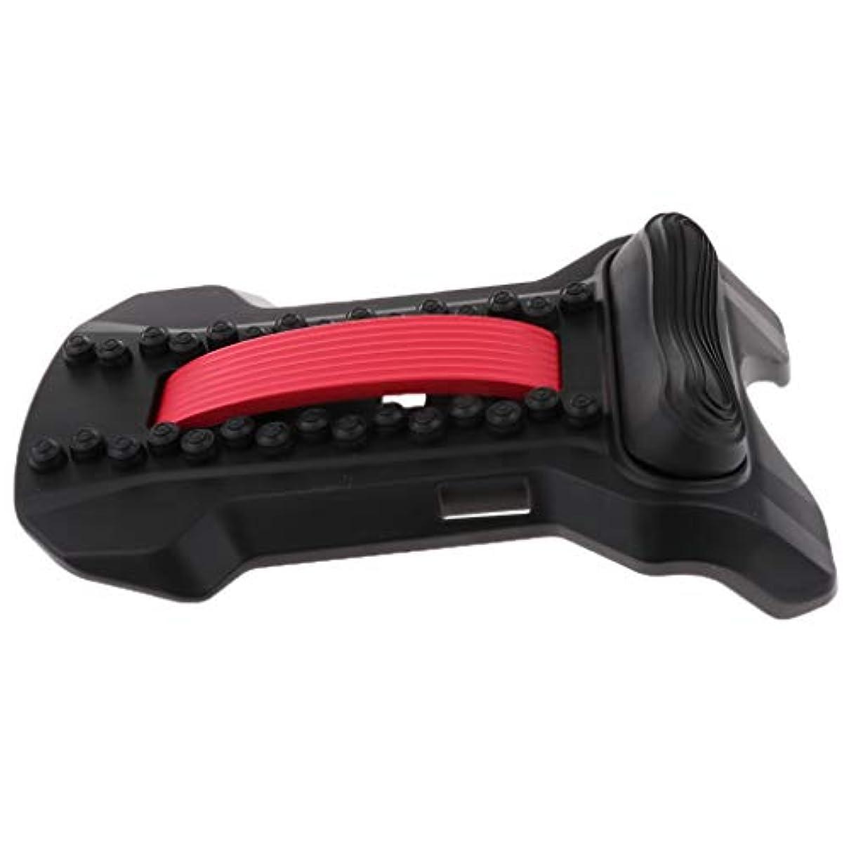 ラリーライオネルグリーンストリートロータリー腰椎サポート バック ストレッチャー 頸椎 ストレッチ マッサージャー ツボ押し 姿勢矯正 全5色 - 黒赤, 22×37×8cm