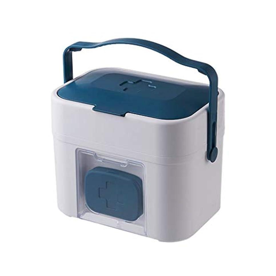 見ました解釈するシャーロットブロンテYANGBM 家庭用機器携帯用外来緊急医療キット薬箱家庭用薬箱大型薬収納ボックス (Color : Blue)