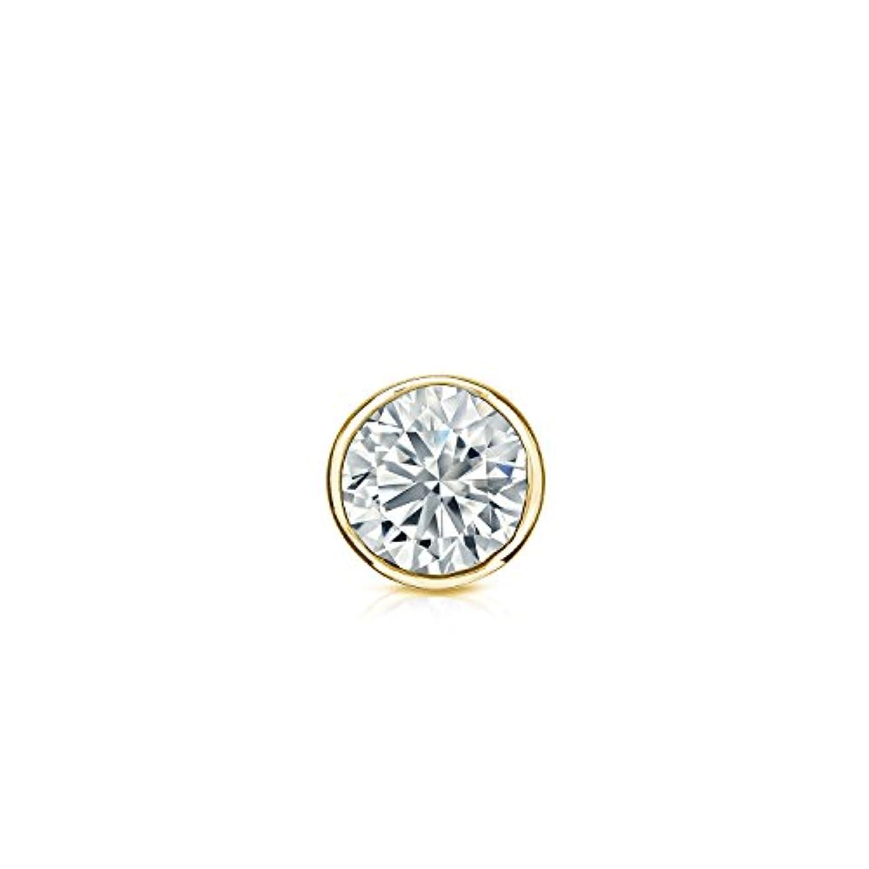 乳製品ラメそれぞれ18 Kイエローゴールドbezel-setラウンドダイヤモンドシングルスタッドイヤリング( 1 / 8 – 1 CT、ホワイト、i1 - i2 ) screw-back