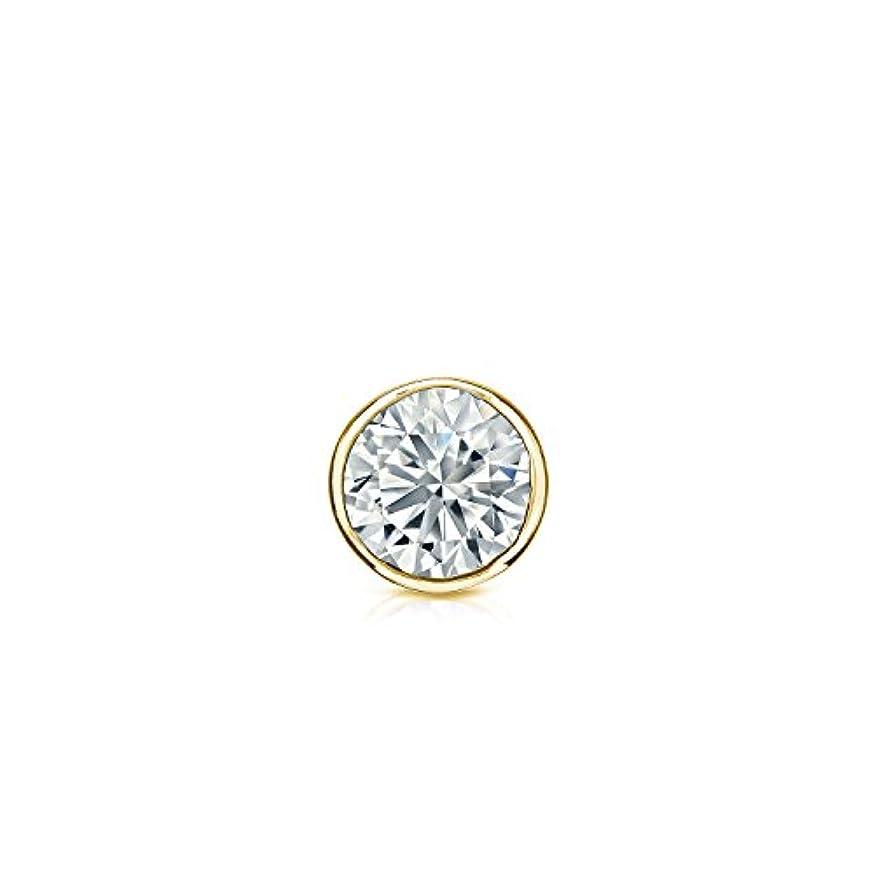 バッフル残酷救い14 KローズゴールドメンズラウンドダイヤモンドSimulant CZベゼルスタッドイヤリング( 1 / 8 – 1カラット、優れた品質)