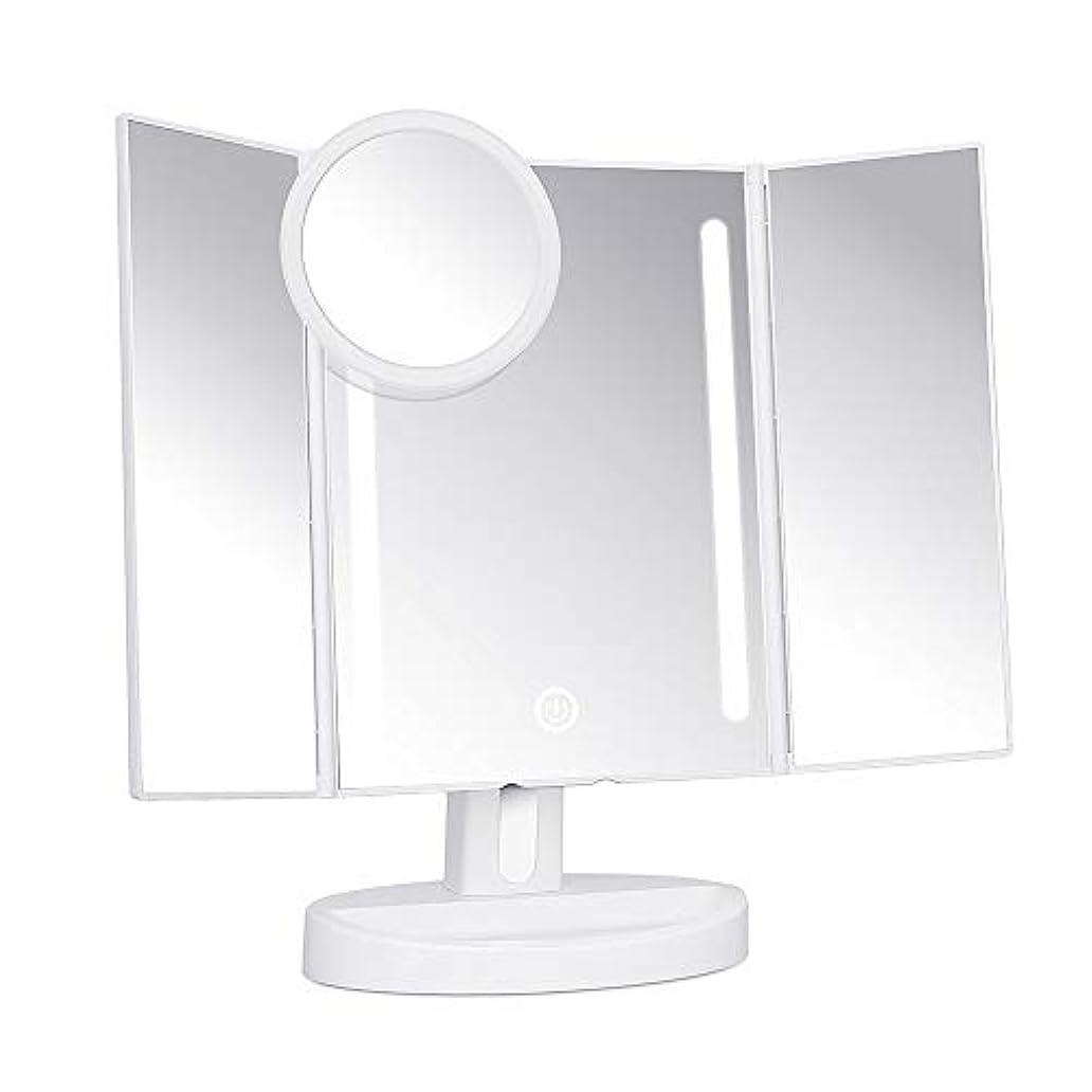 居住者美容師許可化粧鏡 三面鏡 KEDSUM 女優ミラー led付き 折りたたみ 5倍拡大鏡付 明るさ調節可能 180°回転 電池&USB