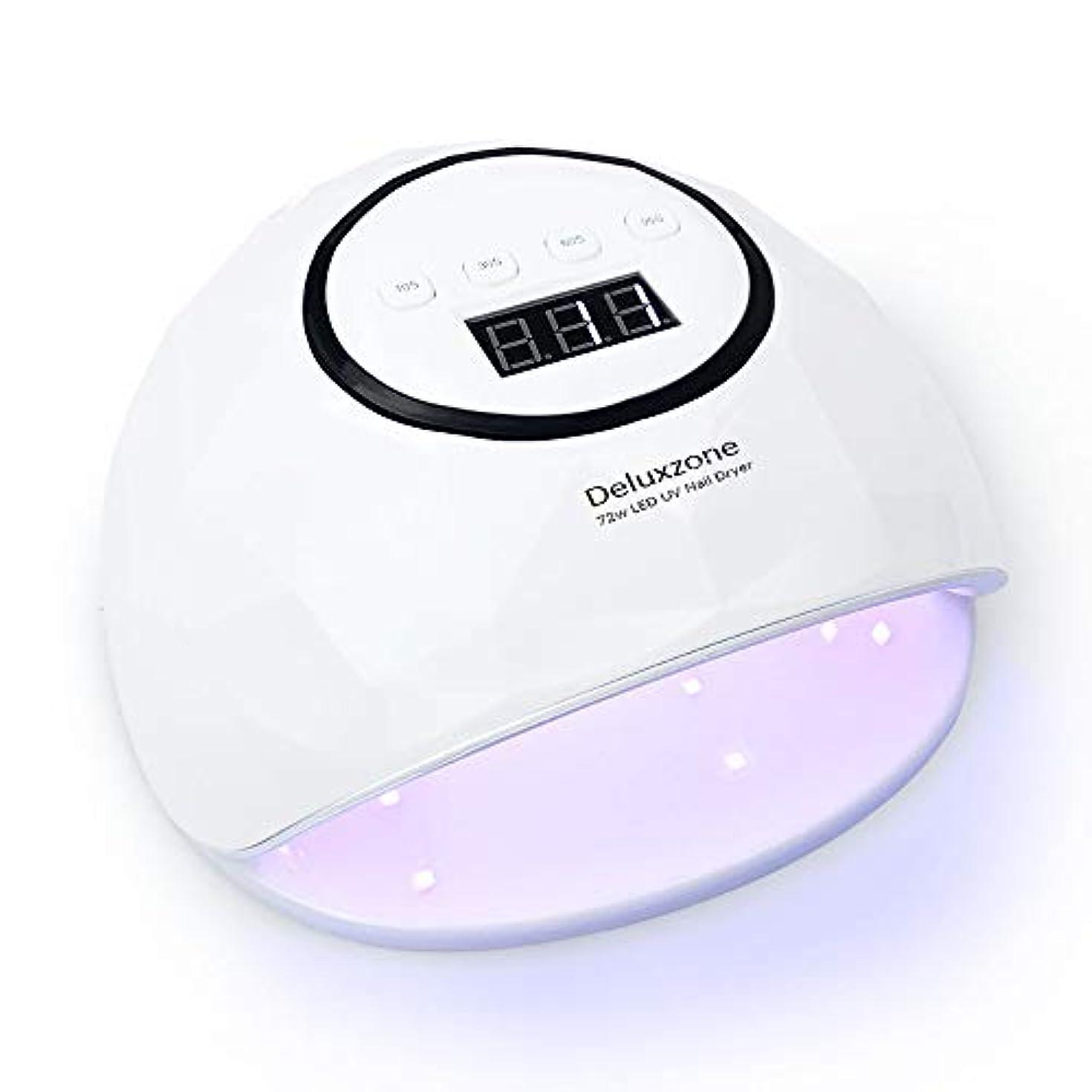 ジャンクション入浴電球UV LED ネイルドライヤー ジェルネイル ライト UV LED 72 W ハイパワー 赤外線検知 UV &LEDダブルライト ジェルネイル用 四つタイマー設定可能 硬化用 マニキュア用ライト ランプ