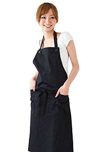(ディックス)DICS エプロン シンプル キッチン フリーサイズ カフェ 無地 料理 調理 家庭的 丈夫 前掛け サロン (ブラック)