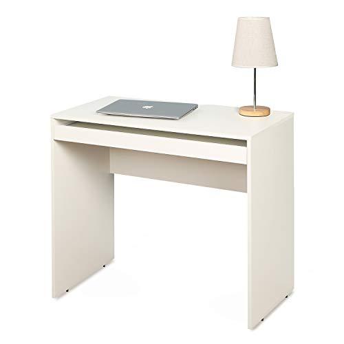 DEVAISE パソコンデスク 勉強机 デスク単品 キーボード置き付き 幅850*奥行450*高さ745mm コンパクトサイズ 省スペース 木製 簡単組立 ホワイト WF0018C