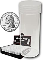 COIN STORAGE TUBES, clear plastic w/ screw on tops for Quarters (Qty of 100 tubes) by BCW