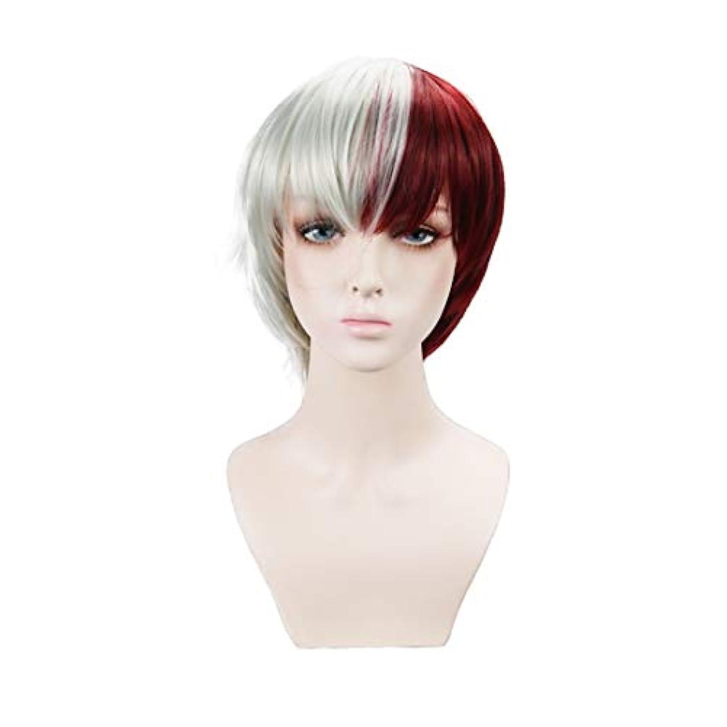 斧数共和国Koloeplf 赤と白の合成ウィッグコスプレウィッグナチュラルルッキング耐熱ウィッグ (Color : Multi-colored)