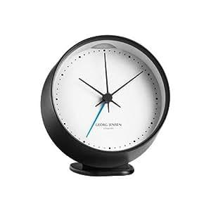 【正規取扱店】 GEORG JENSEN ジョージ・ジェンセン Koppel コッペル Alarm Clock アラームクロック 10cm 卓上ホルダー付 ステンレス カラー:2色 デザイナー:ヘニング・コッペル (ブラック×ホワイト)