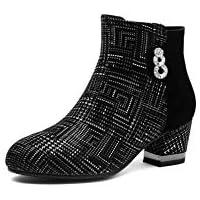 BalaMasa Womens Charms Warm Lining Boots Black Urethane Boots ABM13566-4.5 B(M) US
