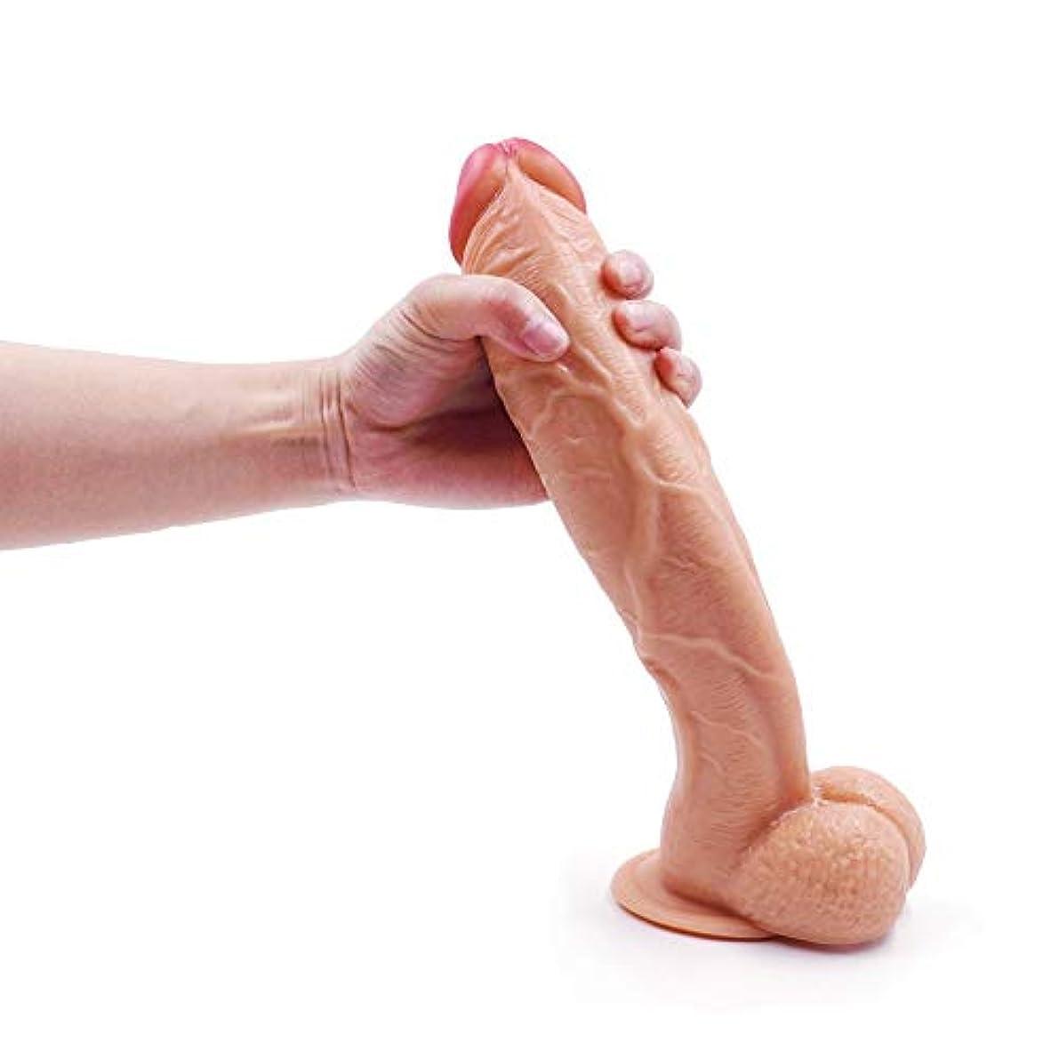 肝六分儀底ペニス 12.2インチの安全で健康的な防水の強力な吸引カップPVCおもちゃ-肉 マッサージャー