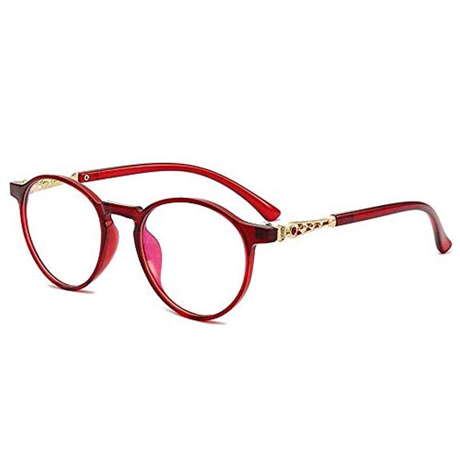 スタイリッシュな軽量アンチブルーライト老眼鏡TR90メガネフレーム放射線防護,赤,+1.0