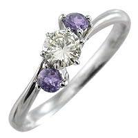 [スカイベル] アメシスト 天然ダイヤモンド k10ホワイトゴールド 指輪 レディース 約0.18ct リングサイズ 30号