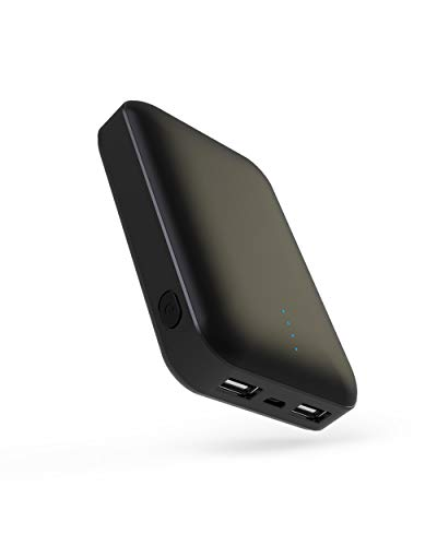 FITROM モバイルバッテリー 10000mAh 最小最軽量 大容量【PSE認証済&METI認証済】持ち運び充電器 2USBポート有線両用 2台同時充電 スマホ 急速充電器 iPhone、iPad、Android各種対応(ブラック) B07S6MW5BL 1枚目