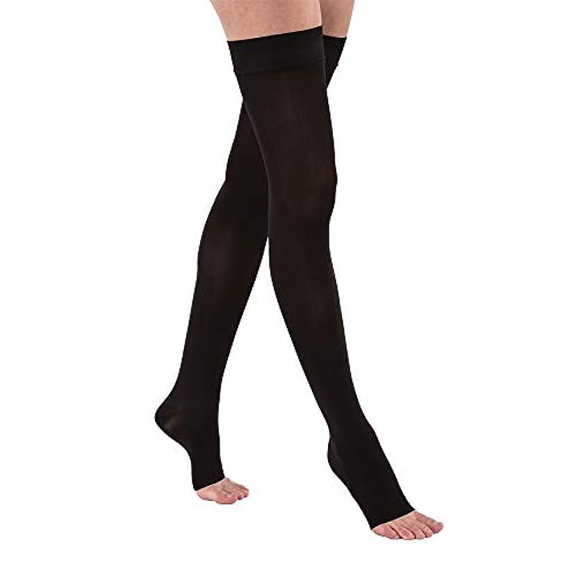 ステレオ不可能な無心Jobst 115556 Opaque OPEN TOE Thigh High 15-20 mmHg Support Stockings - Size & Color- Classic Black Small