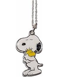 "Snoopy Hugging Woodstock Metal/Enamel Pendant w/ 18"" Chain"