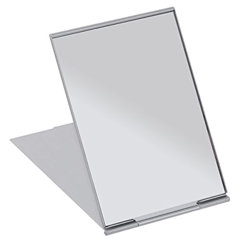 よろめく貫通スペシャリストFRCOLOR 化粧鏡 携帯ミラー 折りたたみミラー 化粧ミラー コンパクトミラー 11.5*8cm 持ち運びに便利 (シルバー)
