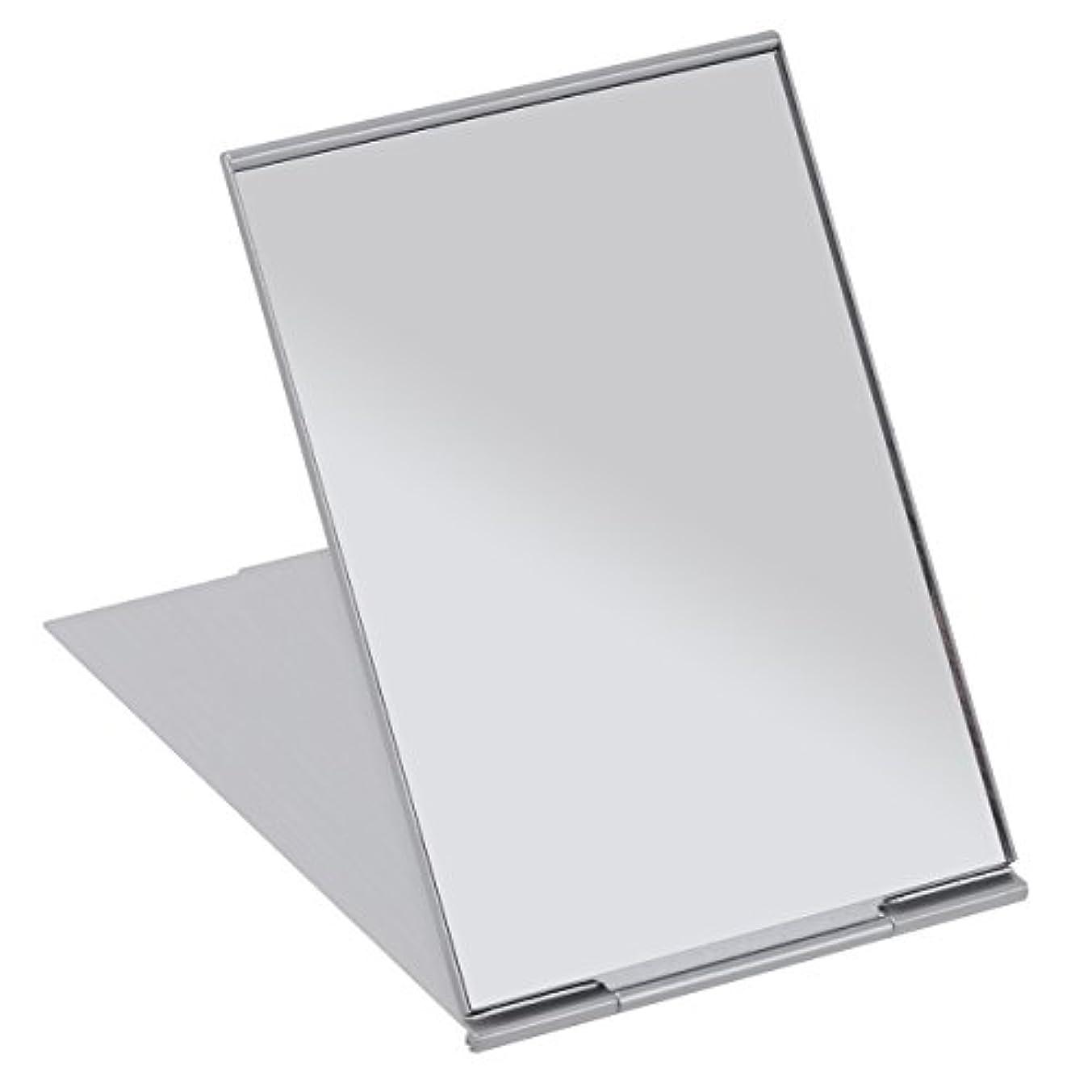 アスリートページェントメタルラインFRCOLOR 化粧鏡 携帯ミラー 折りたたみミラー 化粧ミラー コンパクトミラー 11.5*8cm 持ち運びに便利 (シルバー)