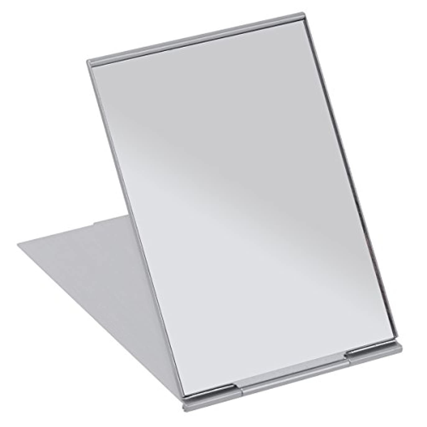 メタンリーチソースFRCOLOR 化粧鏡 携帯ミラー 折りたたみミラー 化粧ミラー コンパクトミラー 11.5*8cm 持ち運びに便利 (シルバー)