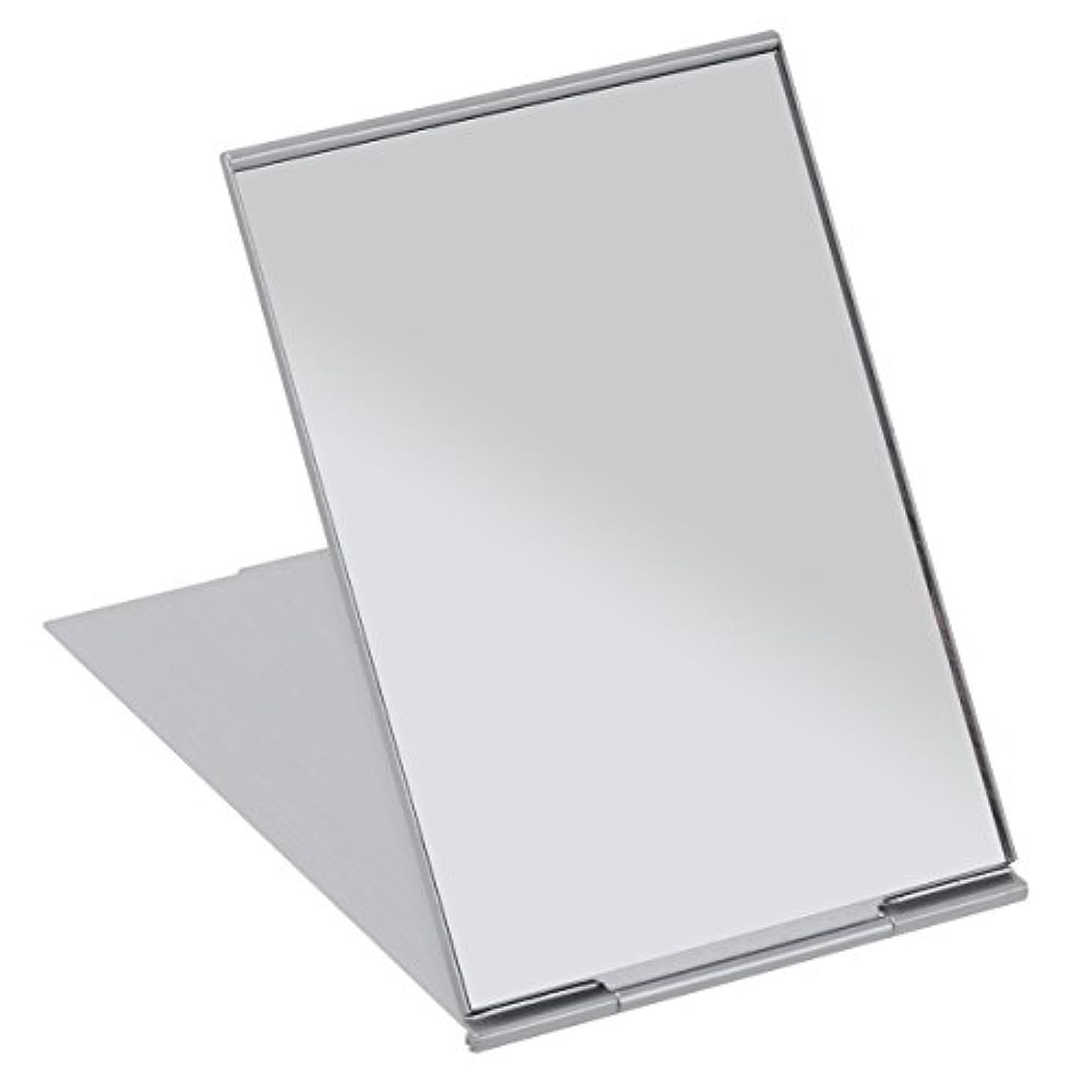 FRCOLOR 化粧鏡 携帯ミラー 折りたたみミラー 化粧ミラー コンパクトミラー 11.5*8cm 持ち運びに便利 (シルバー)