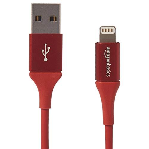 Amazonベーシック USB AケーブルLightningコネクタ付き、プレミアムコレクション - 183cm(6フィート)、レッド