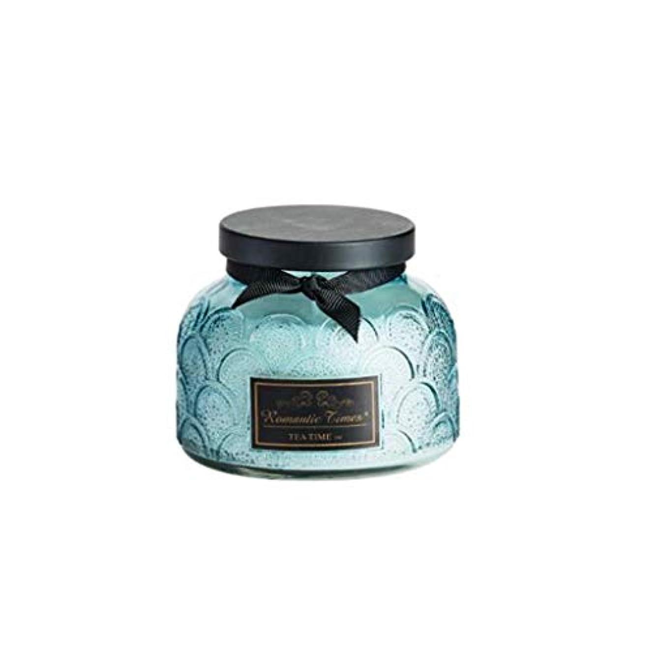 仕える楽観的者キャンドル、レースカップエッセンシャルオイルスクラブガラスアロマキャンドル、ロマンチックな香りキャンドルクリエイティブグリーン無煙なだめるような睡眠ポータブル旅行アロマキャンドル (Color : Sky blue)