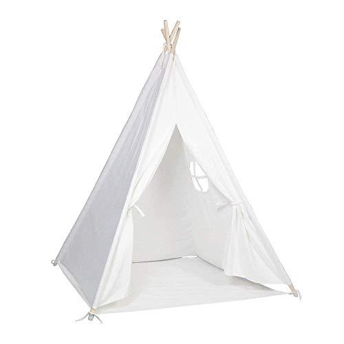 RoomClip商品情報 - FoFxly キッズテント ティピーテント 100%コットンキャンパス 子供室内テント 秘密基地 窓付き 簡単組み立て 誕生日 新学期プレゼント (真っ白)