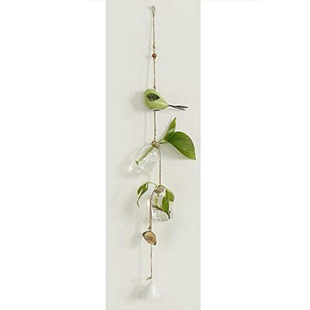 紛争然とした保持Hongyushanghang 風チャイム、クリエイティブ?グラス風チャイム、白、ロープの長さ63センチメートルボトル(なし植物),、ジュエリークリエイティブホリデーギフトを掛ける (Color : Green)