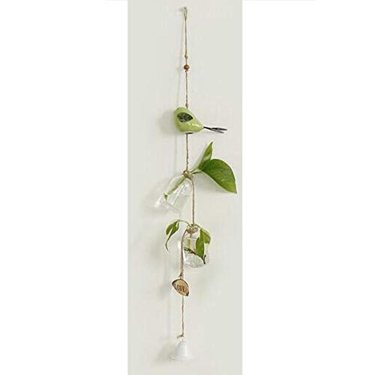 式大惨事志すQiyuezhuangshi 風チャイム、クリエイティブ?グラス風チャイム、白、ロープの長さ63センチメートルボトル(なし植物),美しいホリデーギフト (Color : Green)