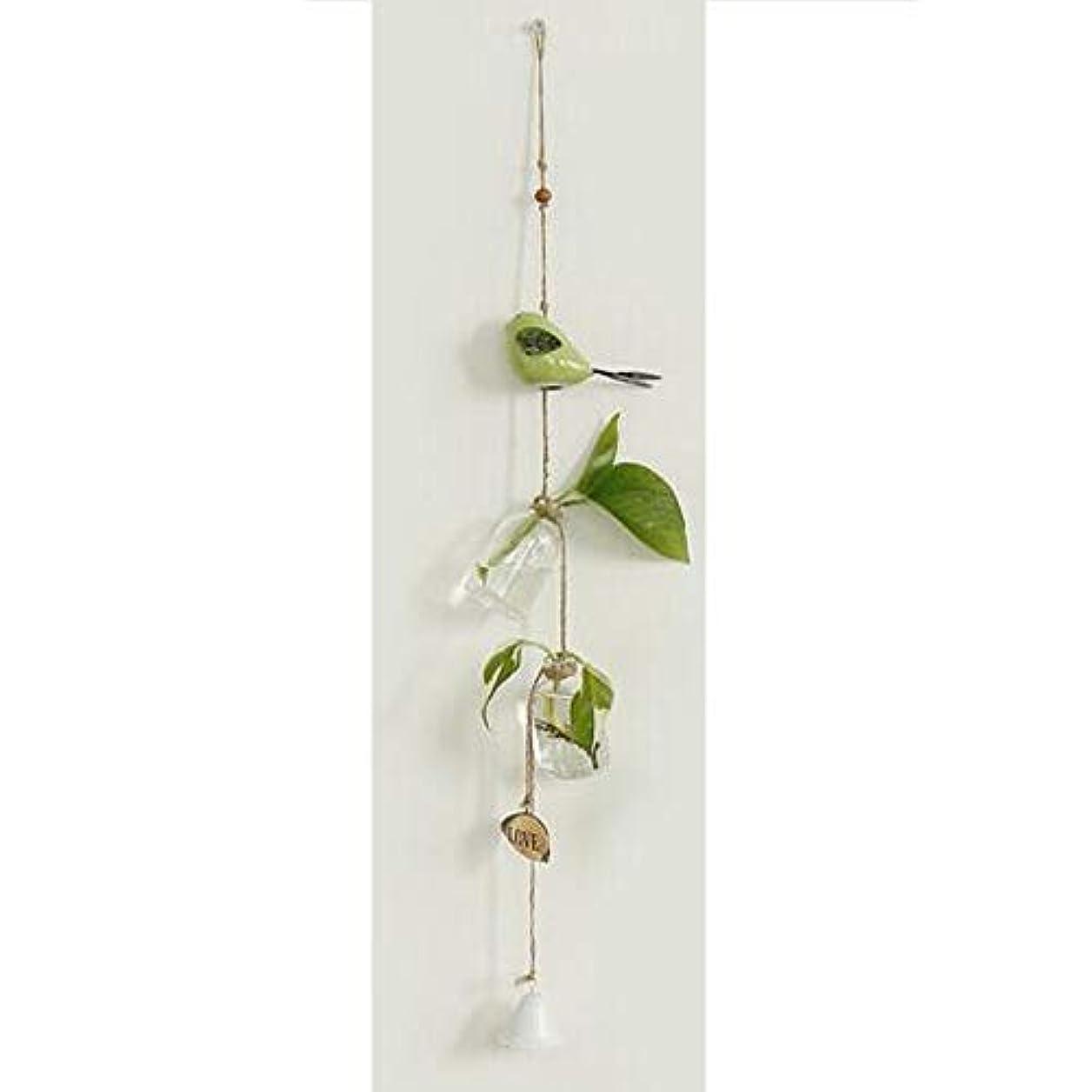 母音スクランブル自由Kaiyitong01 風チャイム、クリエイティブ?グラス風チャイム、白、ロープの長さ63センチメートルボトル(なし植物),絶妙なファッション (Color : Green)