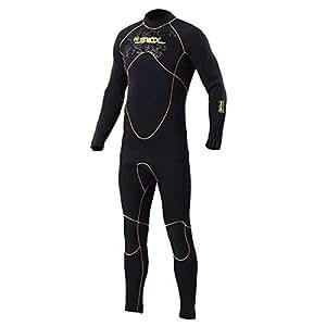 MORGEN SKY ウェットスーツ メンズ 3mm ネオプレン素材 フルスーツ ダイビング サーフィン フィッシング ワンピース バックジップ仕様 クラシック 1101(黒/黄・裏ジャージ,L)