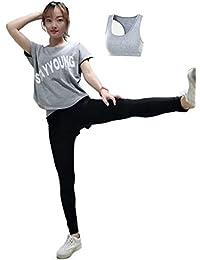 antelope スポーツ トレーニング ヨガ ウェア レディース ゆったりした 半袖 Tシャツ パンツ セット アップ 2点セット/半袖 Tシャツ スポーツブラ レギンス付きショートパンツ 3点セット