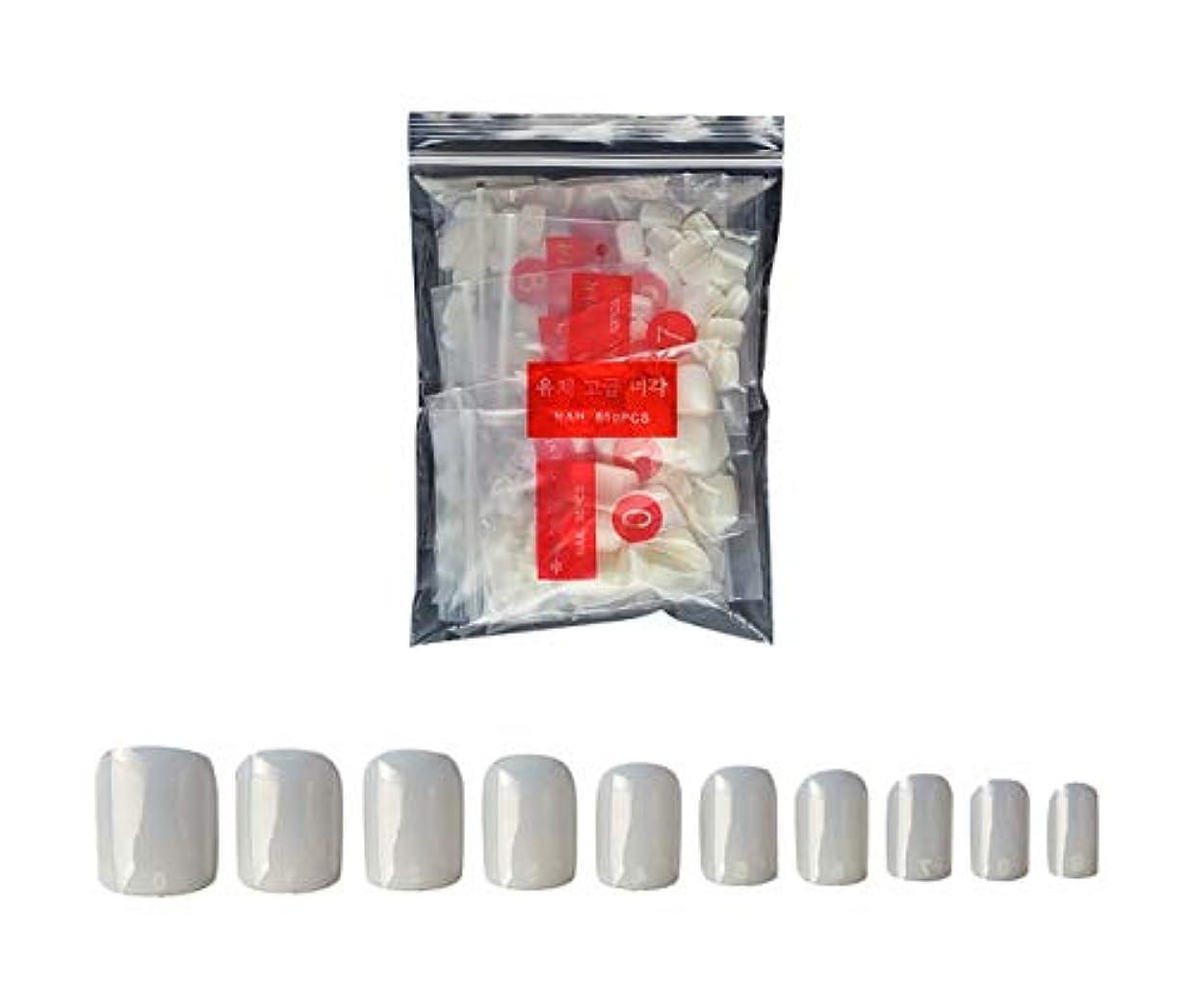 クラックポット戦うランデブーTianmey ナチュラルまあネイルのヒントハーフカバー偽の釘自宅でネイルサロンやDIYネイルアートのための10個のサイズを(ナチュラル) (Color : Natural)
