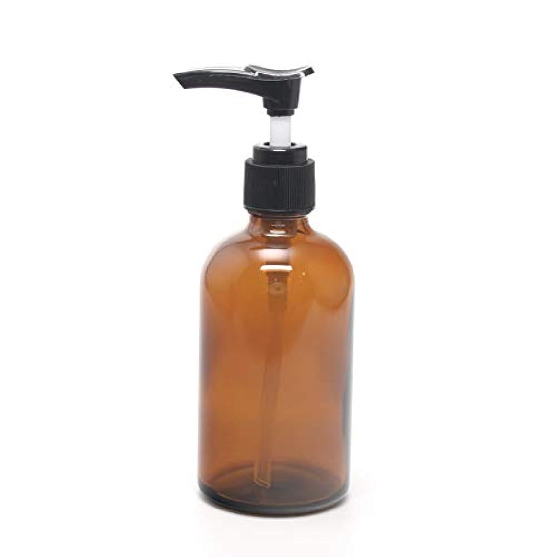 指定横たわるエキゾチック遮光瓶 ポンプボトル (硝子) 100ml / アンバー ? ブラックポンプヘッド (1本)