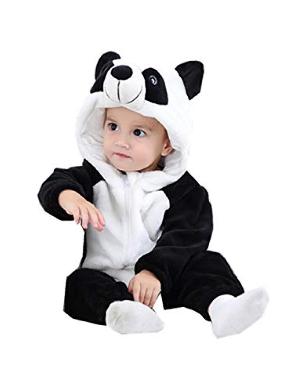 3D パンダ 男女兼用 かわいい ベビー服 女の子 赤ちゃん服 幼児 子供服 男の子 フード付き 5サイズ キッズ服 ロンパース カバーオール 満月/出産祝い/プレゼント70CM-80CM-90CM-100CM-110CM(0ヶ月-24ヶ月-3歳) (100CM/18-24ヶ月, 写真のように)