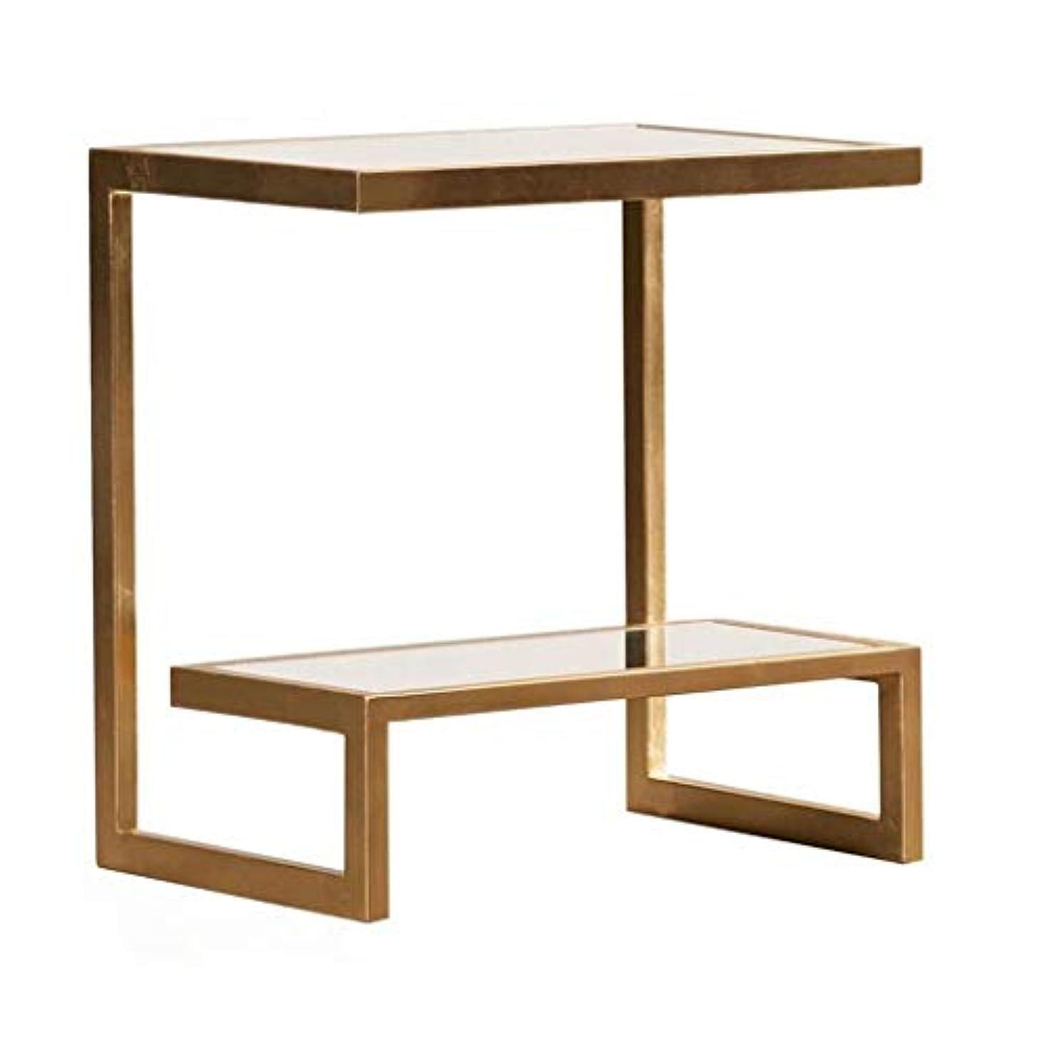 子供達場合場合HY サイドテーブル長方形、ガラス/サテンゴールドフィニッシュ家具50cmサイドテーブル - 強化ガラス