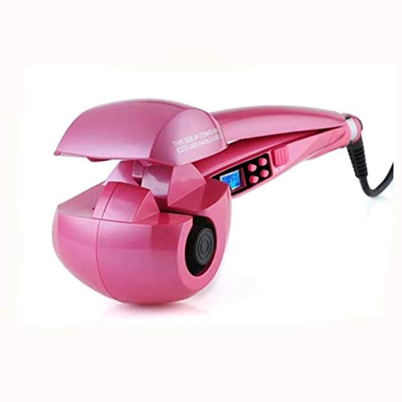 囚人死傷者スペースLcd自動カーリングアイロン温度制御トルマリンセラミック360度自動カーリングシリンダーすべての髪のタイプに適した,ピンク