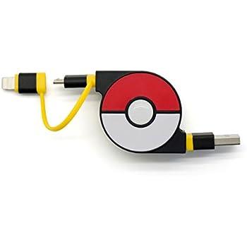 cheero 2in1 Retractable USB Cable with Lightning & micro USB Pokemon version (Yellow) MFi取得 巻き取り式 充電ケーブル 急速充電 データ転送 ライトニング マイクロUSB 70cm