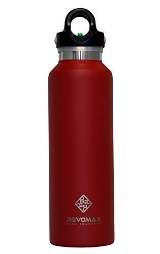 RevoMax おしゃれ ウォーターボトル Water Bottle 真空断熱 ステンレス 魔法瓶 今までに無かった蓋ワンタッチ開閉式! アメリカで大人気! (20OZ(592ml), Fire Red)