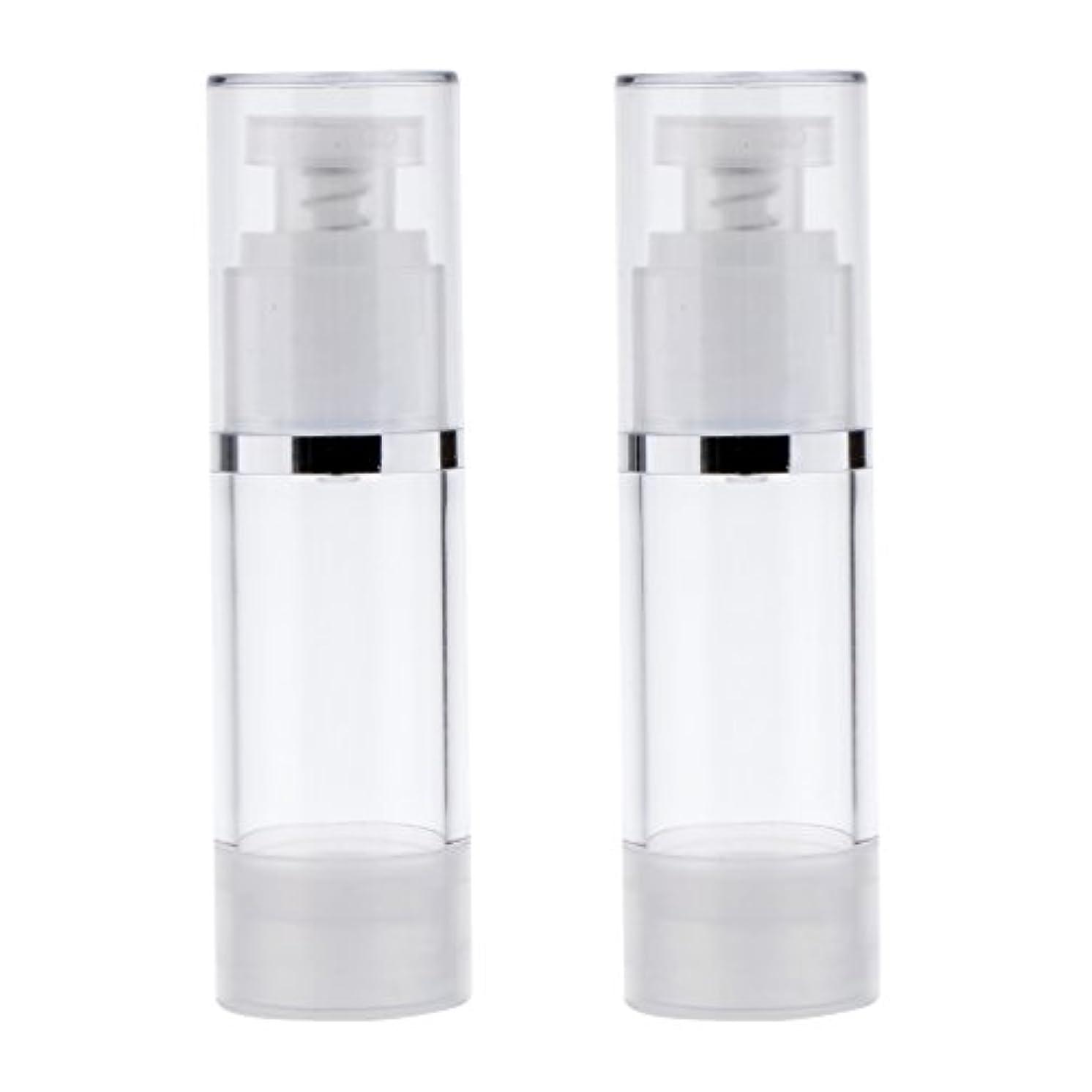 フィットネス移行する硬い2個 ポンプボトル ディスペンサー 詰め替え可 化粧品 クリーム ローション ポンプチューブ エアレスボトル 収納用 容器 3サイズ選べる - 30ml