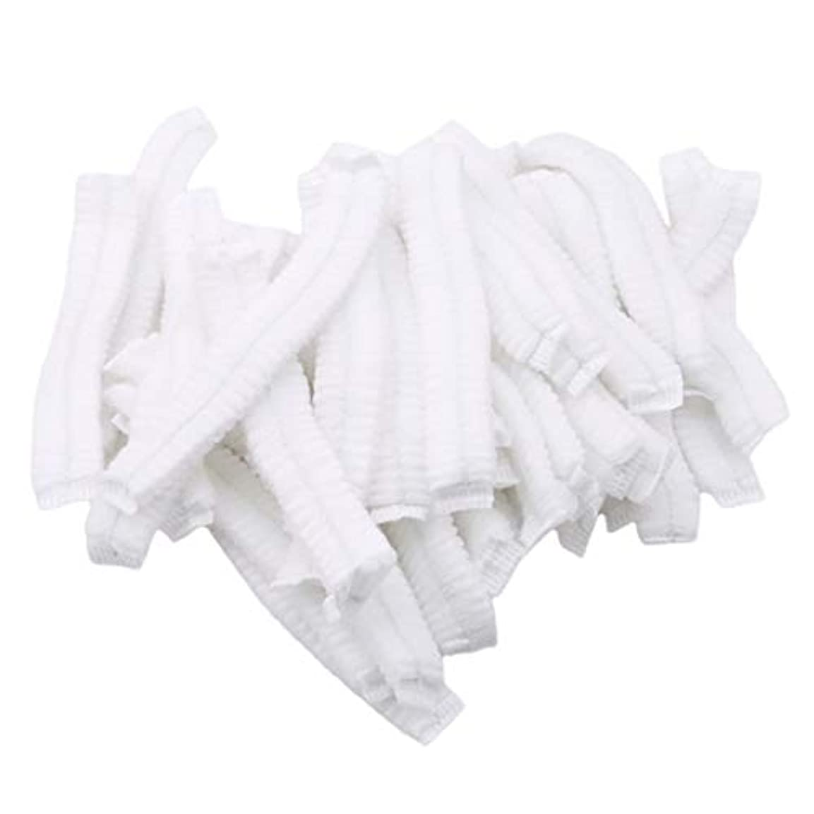 無心夏貞GOMYIE 病院サロンスパダイニングとほこりのない作業エリア用の使い捨て不織布ふわふわ帽子ネット100個(白)
