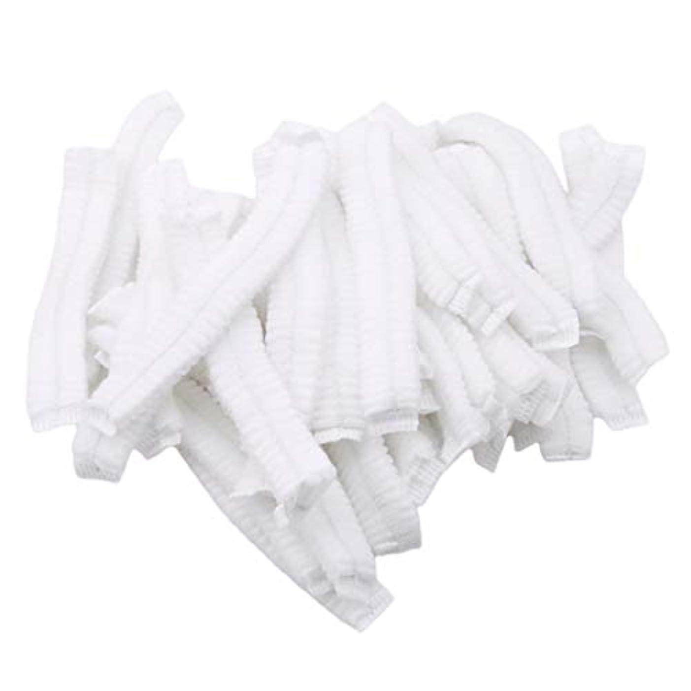 キャベツ文契約GOMYIE 病院サロンスパダイニングとほこりのない作業エリア用の使い捨て不織布ふわふわ帽子ネット100個(白)
