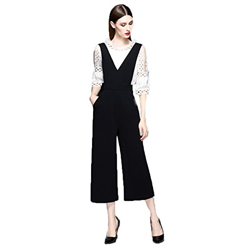 [RSWHYY] Ladies overalls all-in-one overalls casual spring and autumn gaucho pants plain overalls loose V-neck nine minutes length leg length effect high waist School style