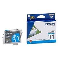 (まとめ) エプソン EPSON インクカートリッジ シアン ICC31 1個 【×4セット】