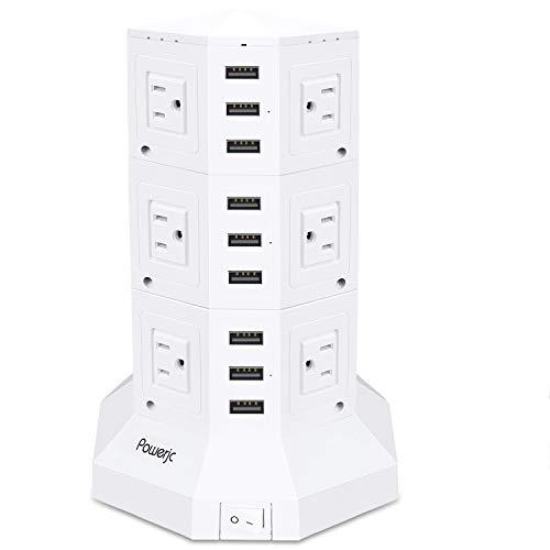 電源タップ 縦型コンセント タワー式 オフィス・会議用 USB急速充電 3m スイッチ付 12口 3層