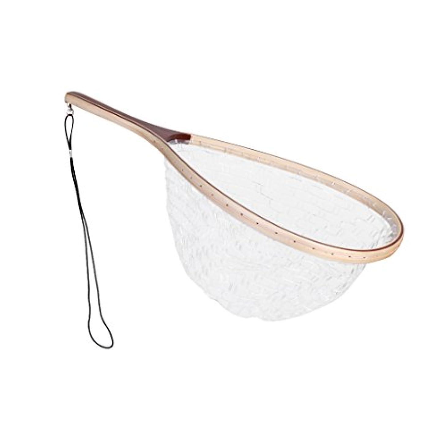 ガム周辺フィードフライフィッシング トラウト キャッチ ラバー ランディングネット 魚 キーパー 木製ハンドル 白色