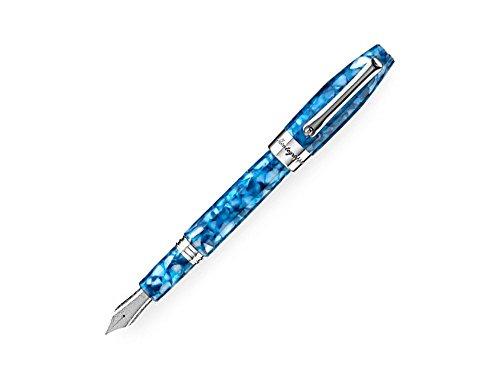 Montegrappa Fortuna Marrakech Fountainペン,ブルー樹脂,パラジウムトリム–F