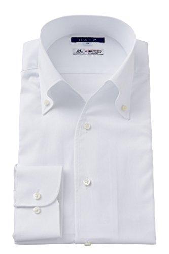 (オジエ) ozie ワイシャツ メンズ タイトフィット イタリア製生地 プレミアムコットン100番手双糸 イタリアンカラー ボタンダウン スキッパー 第一ボタン無し 日本製